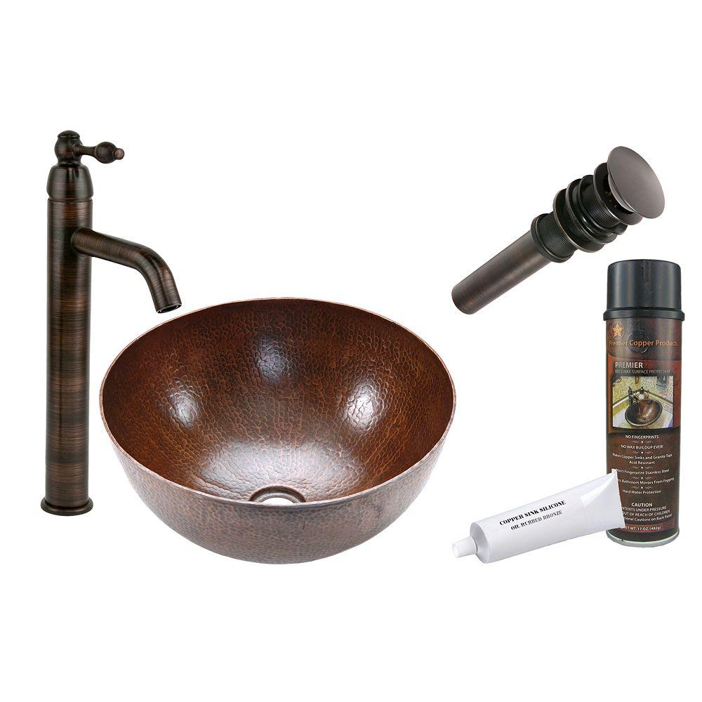 Premier Copper Products Évier tout-en-un en cuivre et cuve de format moyen, 15 po, en bronze huilé
