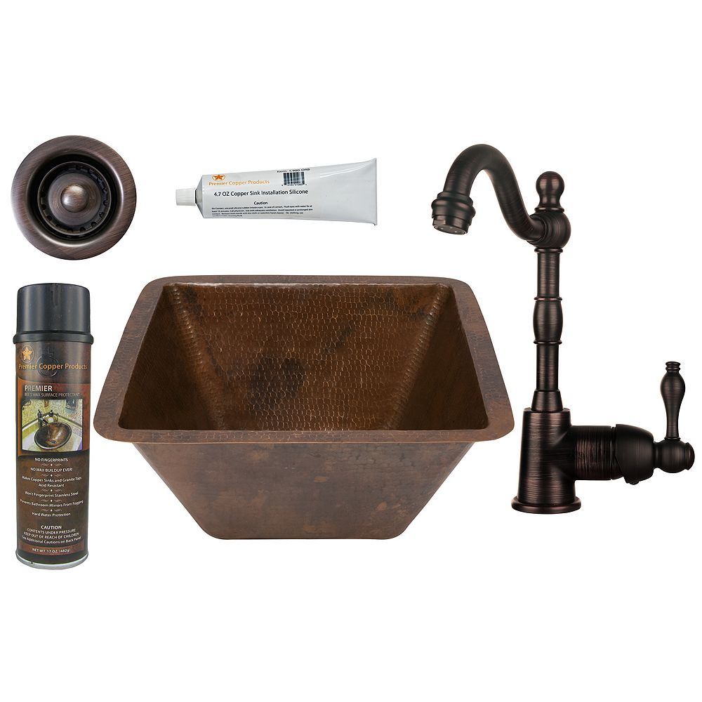Premier Copper Products All-in-One 15 inch Square Copper Bar Sink in ORB with 2 inch Drain Opening