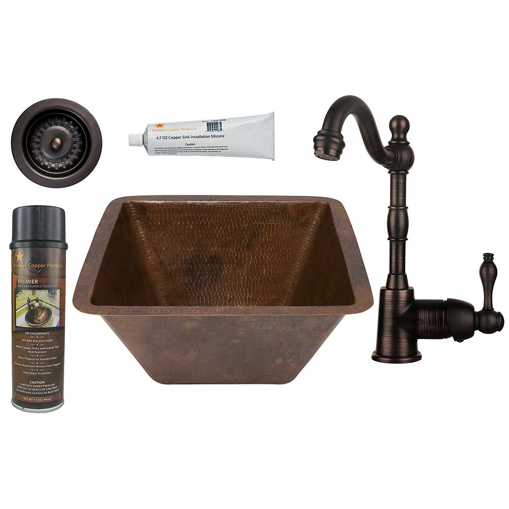 Premier Copper Products All-in-One 15 inch Square Copper Bar Sink in ORB with 3.5 inch Drain Opening and Strainer Drain