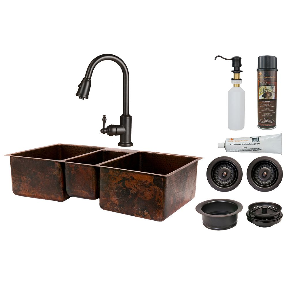 Premier Copper Products All-in-One Dual Mount Copper 42 inch Triple Bowl Kitchen Sink in Oil Rubbed Bronze_K2