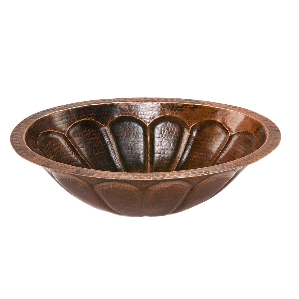 Premier Copper Products Dual Mount Oval Sunburst Copper 19 inch 0-Hole Bathroom Sink in Oil Rubbed Bronze