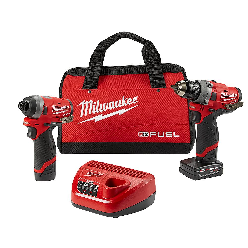 Milwaukee Tool M12 FUEL 12V Li-Ion Brushless Drill and Impact Driver Combo Kit (2-Tool) W/ Charger & Tool Bag