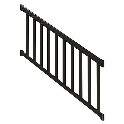 Ensemble de rampe en aluminium d'escalier avec piquets larges, 6 pi, en noir mat