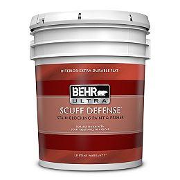 SCUFF DEFENSE Interior Extra Durable Flat Paint & Primer in Ultra Pure White, 18.9 L