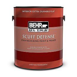 SCUFF DEFENSE Interior Extra Durable Flat Paint & Primer in Ultra Pure White, 3.79 L