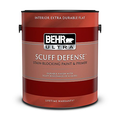 BEHR ULTRA SCUFF DEFENSE Interior Extra Durable Flat Paint & Prmer in Deep Base, 3.79 L