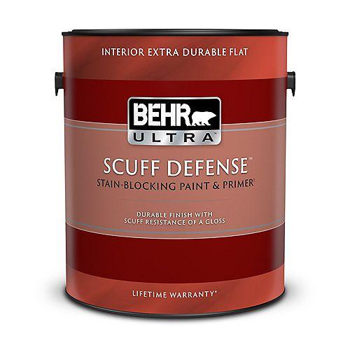 BEHR ULTRA SCUFF DEFENSE Peinture et apprêt d'intérieur très durable à fini mat - Base moyenne, 3,79 L