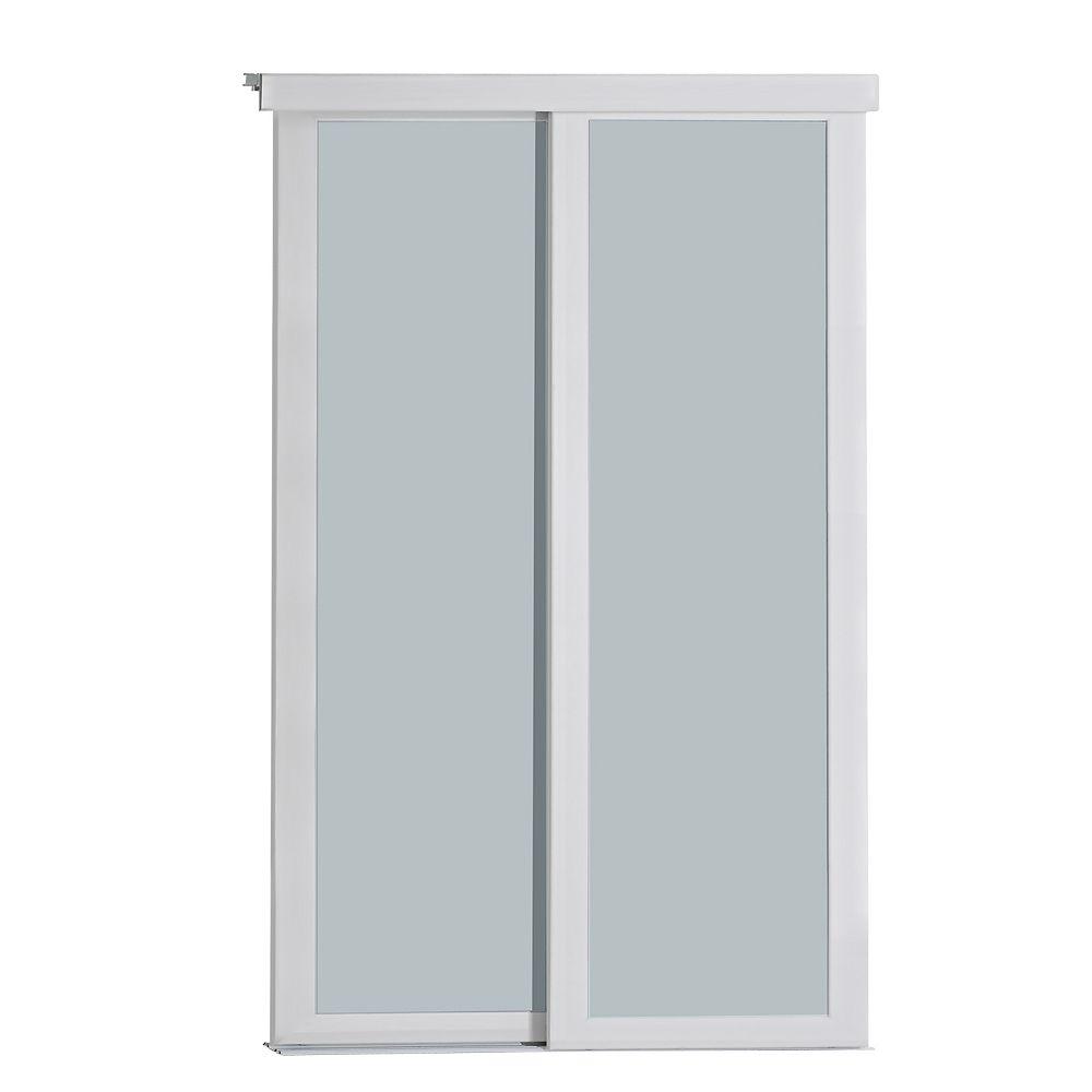 Indoor Studio Indoor Studio 1 Lite 60 in. x 80.5 in MDF Vinyl Frosted Glass Sliding Closet Door White