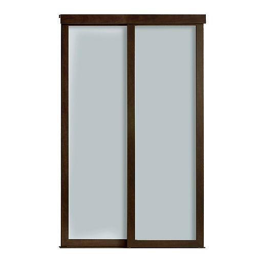 Indoor Studio 1 Lite 60 in. x 80.5 in MDF Vinyl Frosted Glass Sliding Closet Door Mocha
