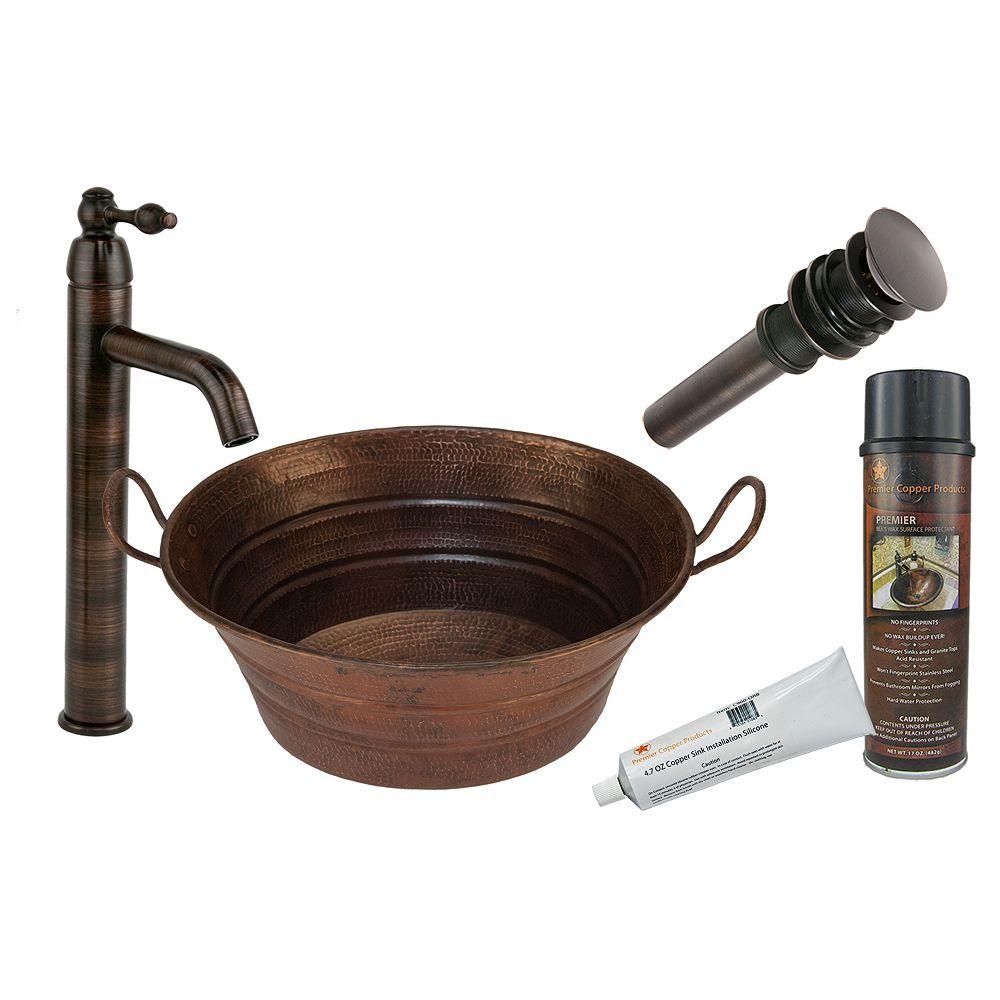 Premier Copper Products Évier tout-en-un en cuivre avec poignées, vasque ovale de 16 po en bronze huilé
