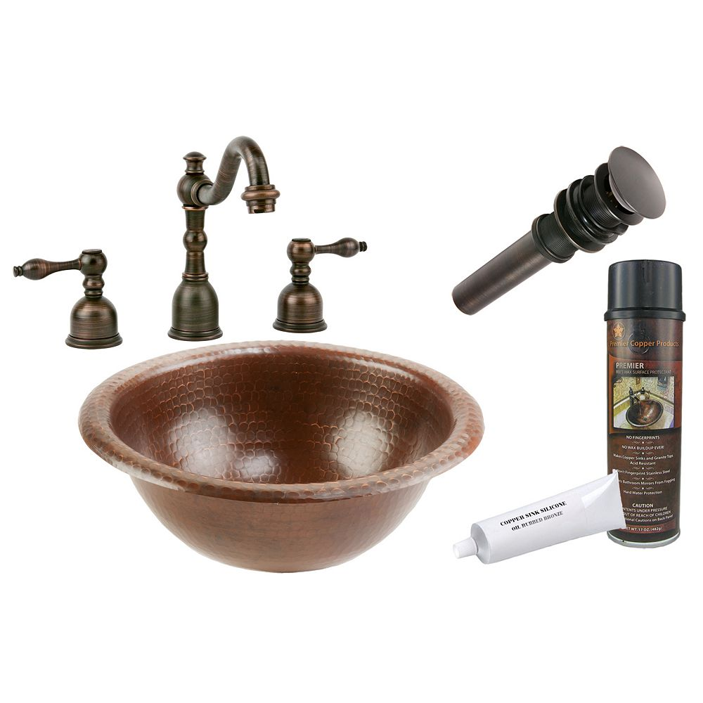 Premier Copper Products All-in-One Drop In Small Round Copper 12 inch 0-Hole Bathroom Sink in Oil Rubbed Bronze