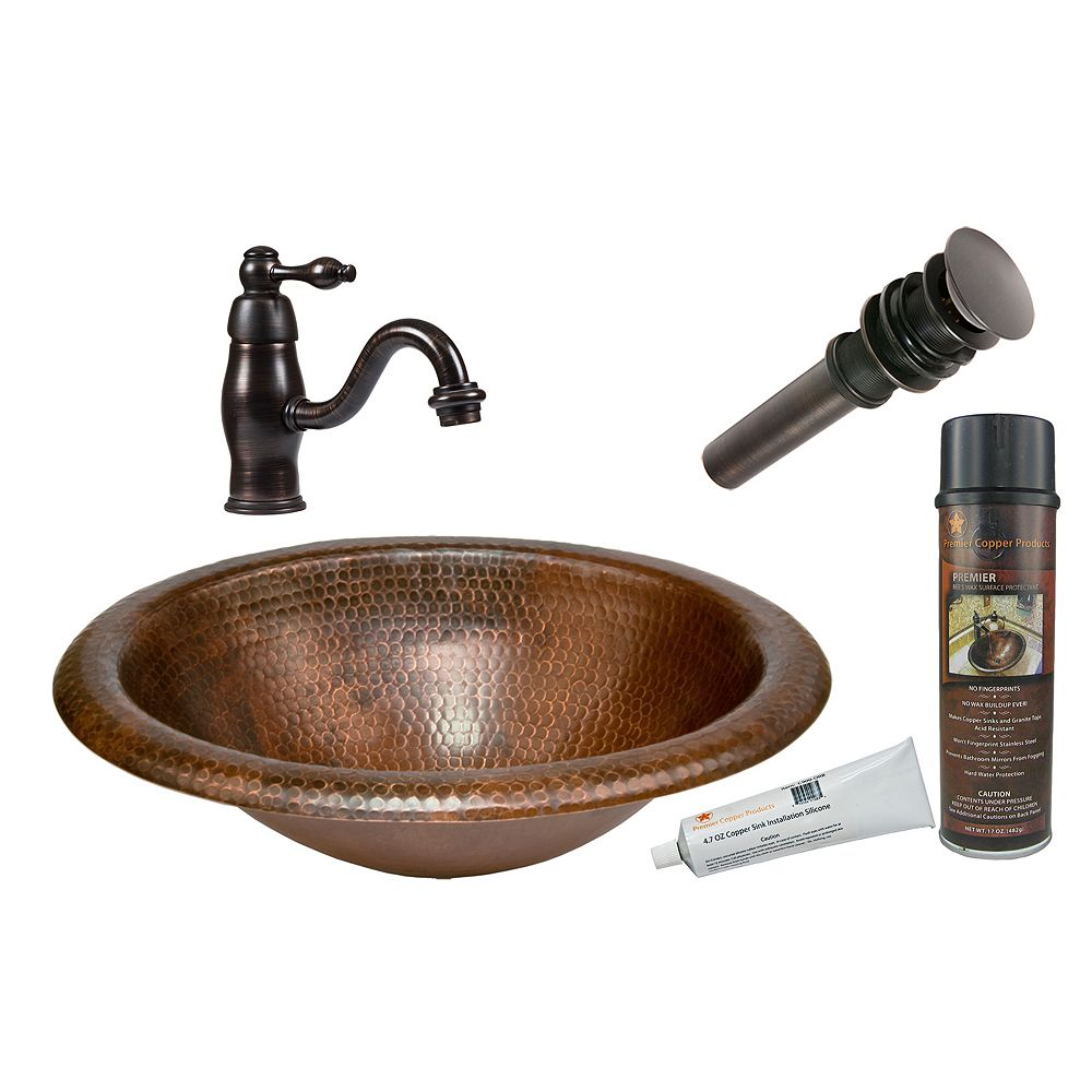 Premier Copper Products All-in-One Drop In Oval Wide Rim Copper 18 inch 0-Hole Bathroom Sink in Oil Rubbed Bronze