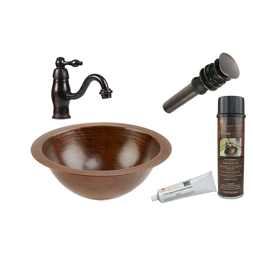 Premier Copper Products All-in-One Dual Mount Small Round Copper 12 inch 0-Hole Bathroom Sink in Oil Rubbed Bronze