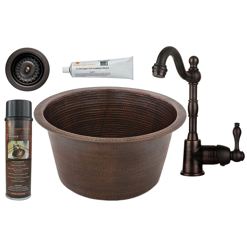 Premier Copper Products All-in-One 17 inch Round Copper Bar Sink in ORB with 3.5 inch Drain Opening and Strainer Drain