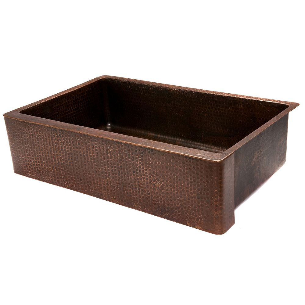 Premier Copper Products Farmhouse/Apron-Front Copper 35 inch 0-Hole Single Bowl Kitchen Apron Sink in ORB