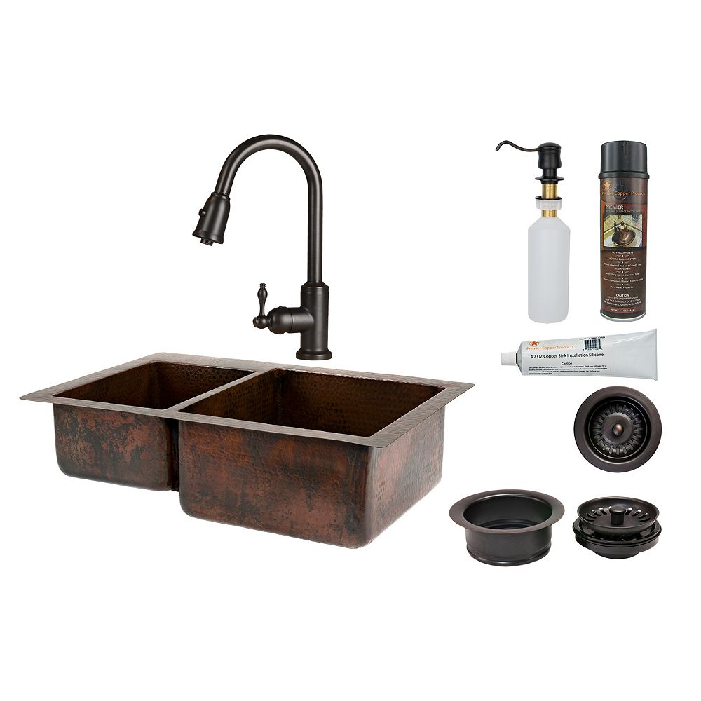 Premier Copper Products All-in-One Dual Mount Copper 33 inch 0-Hole Double Bowl 40/60 Kitchen Sink in Oil Rubbed Bronze