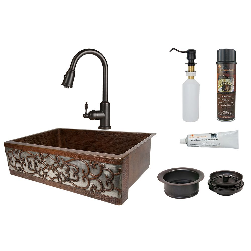Premier Copper Products All-in-One Farmhouse/Apron-Front Copper 33 inch Kitchen Scroll Apron Sink ORB and Nickel_K2
