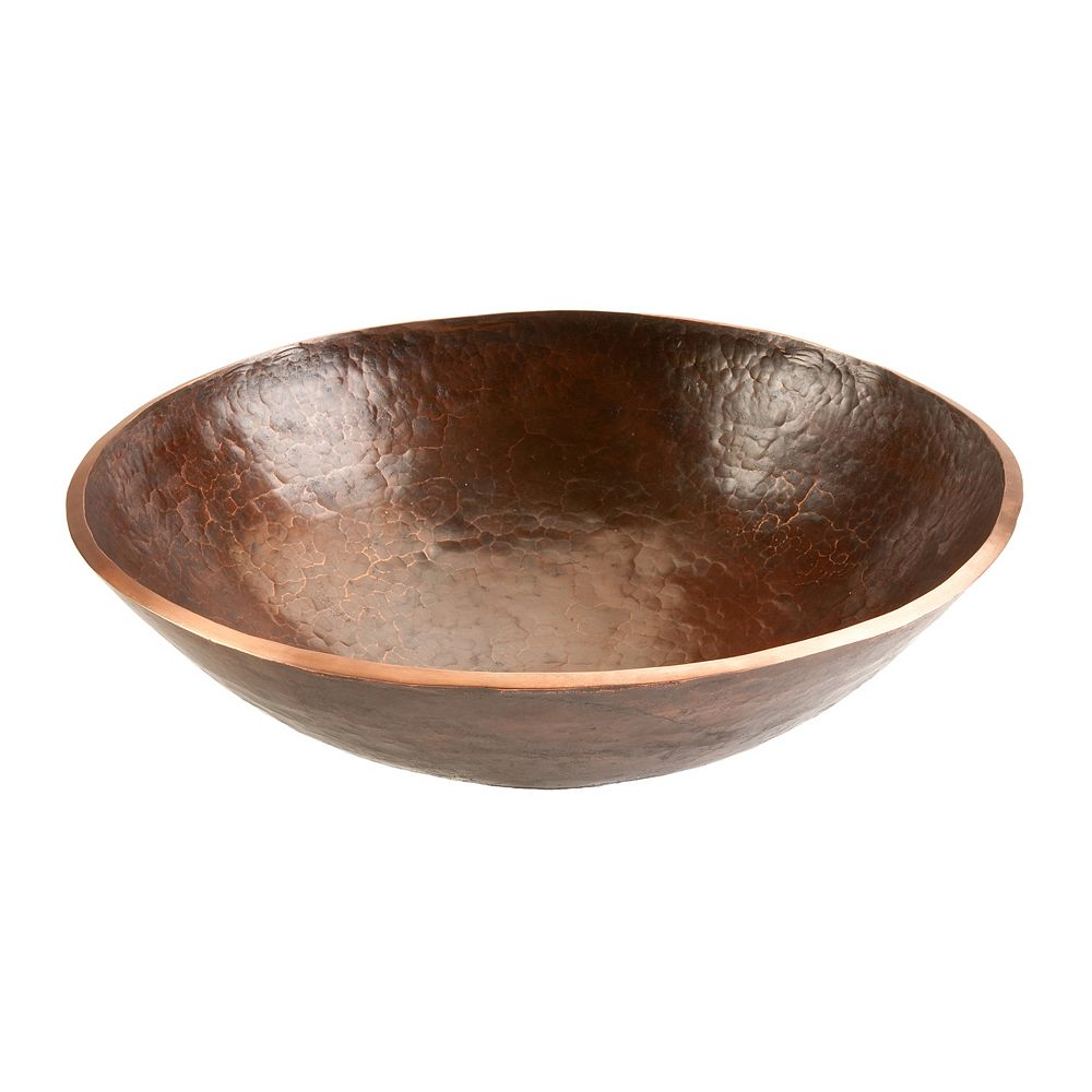 Premier Copper Products 16 inch Round Hand Forged Old World Copper Vessel Sink in Oil Rubbed Bronze