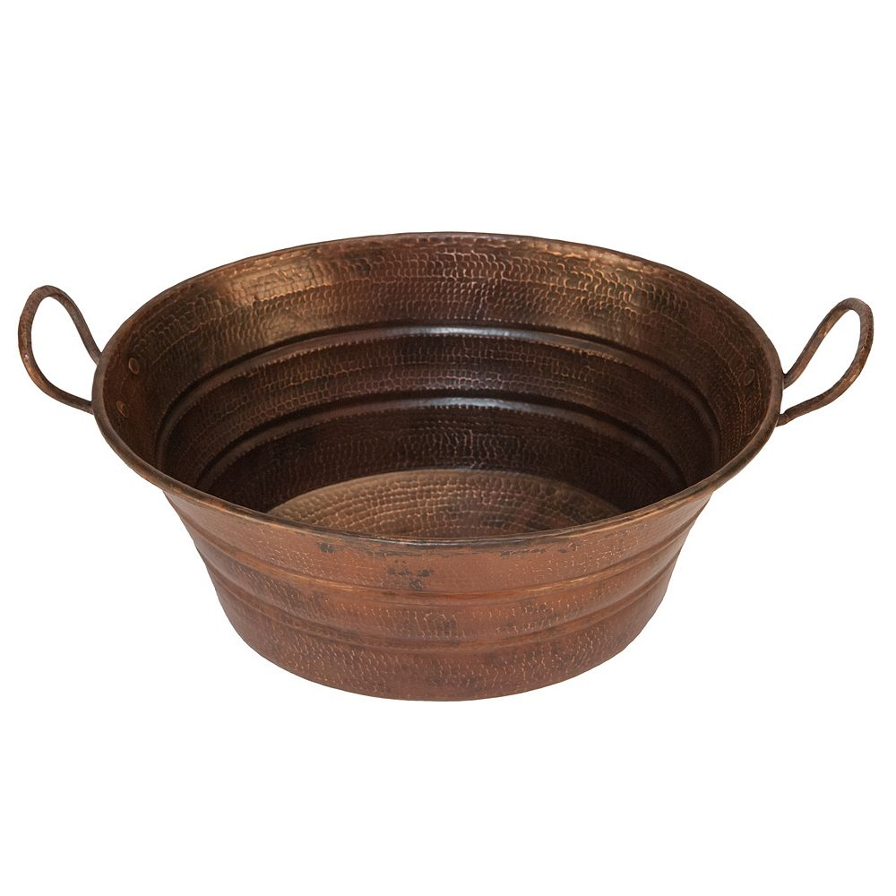 Premier Copper Products 16 inch Oval Bucket Vessel Copper Sink with Handles in Oil Rubbed Bronze