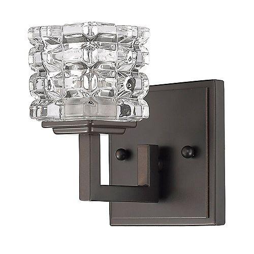 Applique Coralie en cristal à 1 lumière en bronze huilé