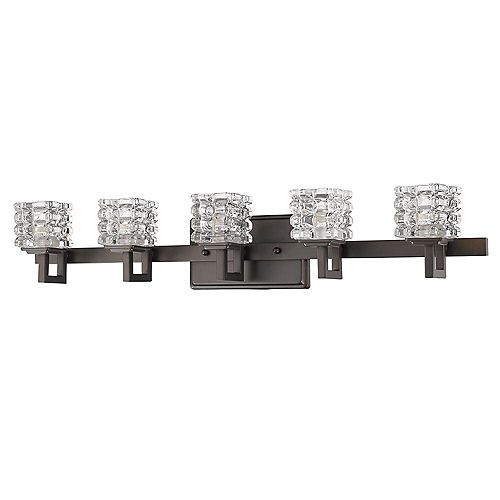 Acclaim Coralie 5-Light Bath & Vanity w/cube crystal shade in Oil-Rubbed Bronze