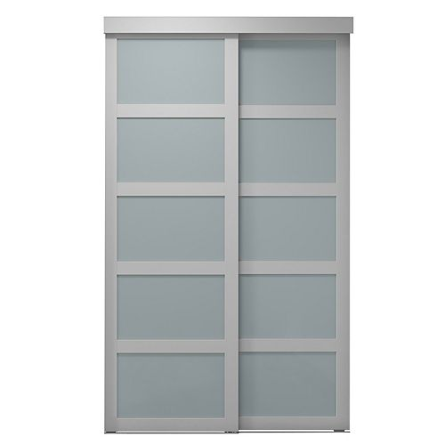 """48""""Sliding Frosted 5 Lite ClosetDoor"""