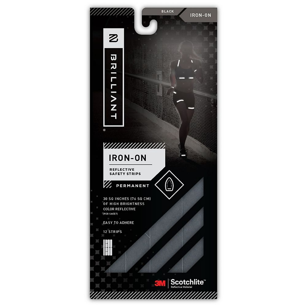 Brilliant Reflective Strips Iron-On Black (12 Strips)