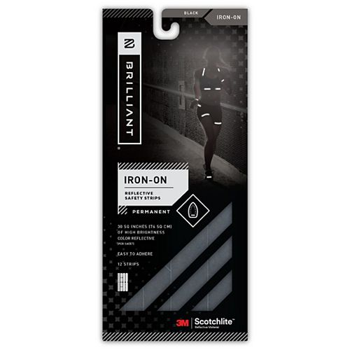 3 Pack Reflective Strips Iron-On Black