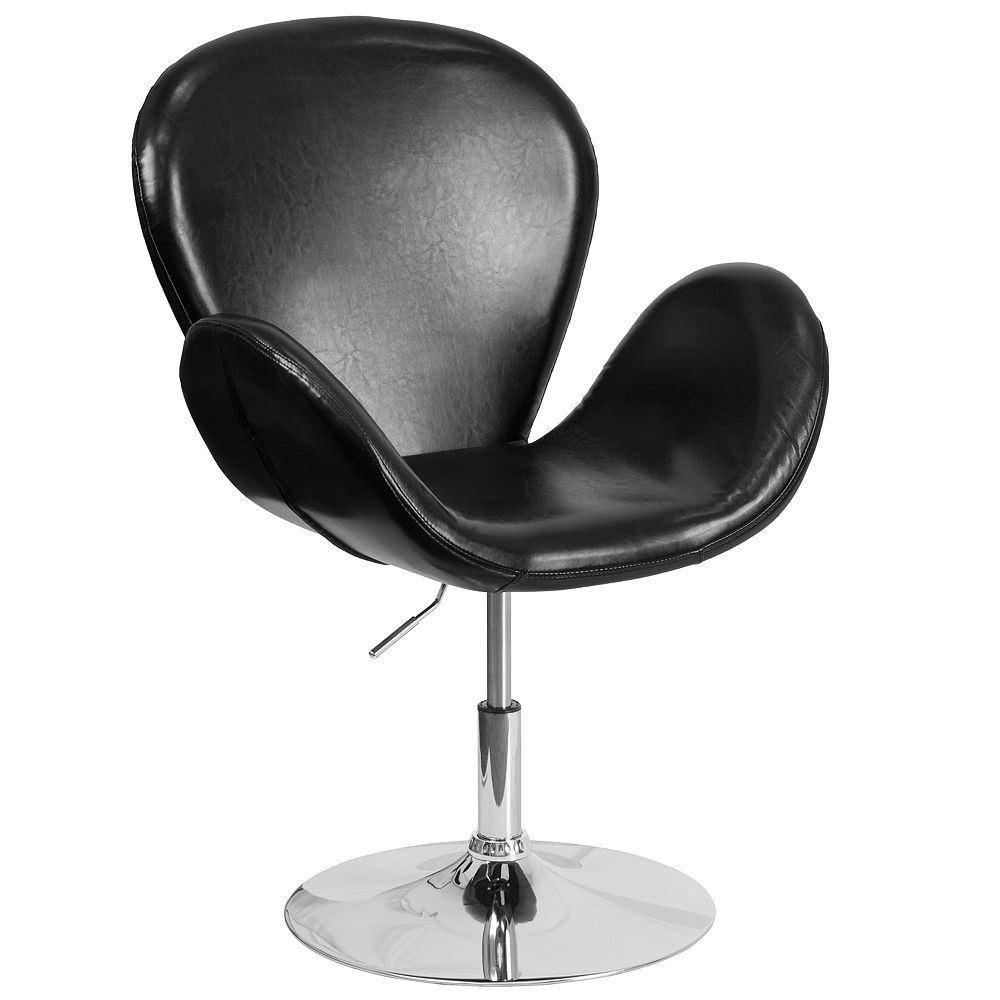 Flash Furniture HERCULES Trestron Series Black Leather Side Reception Chair with Adjustable Height Seat