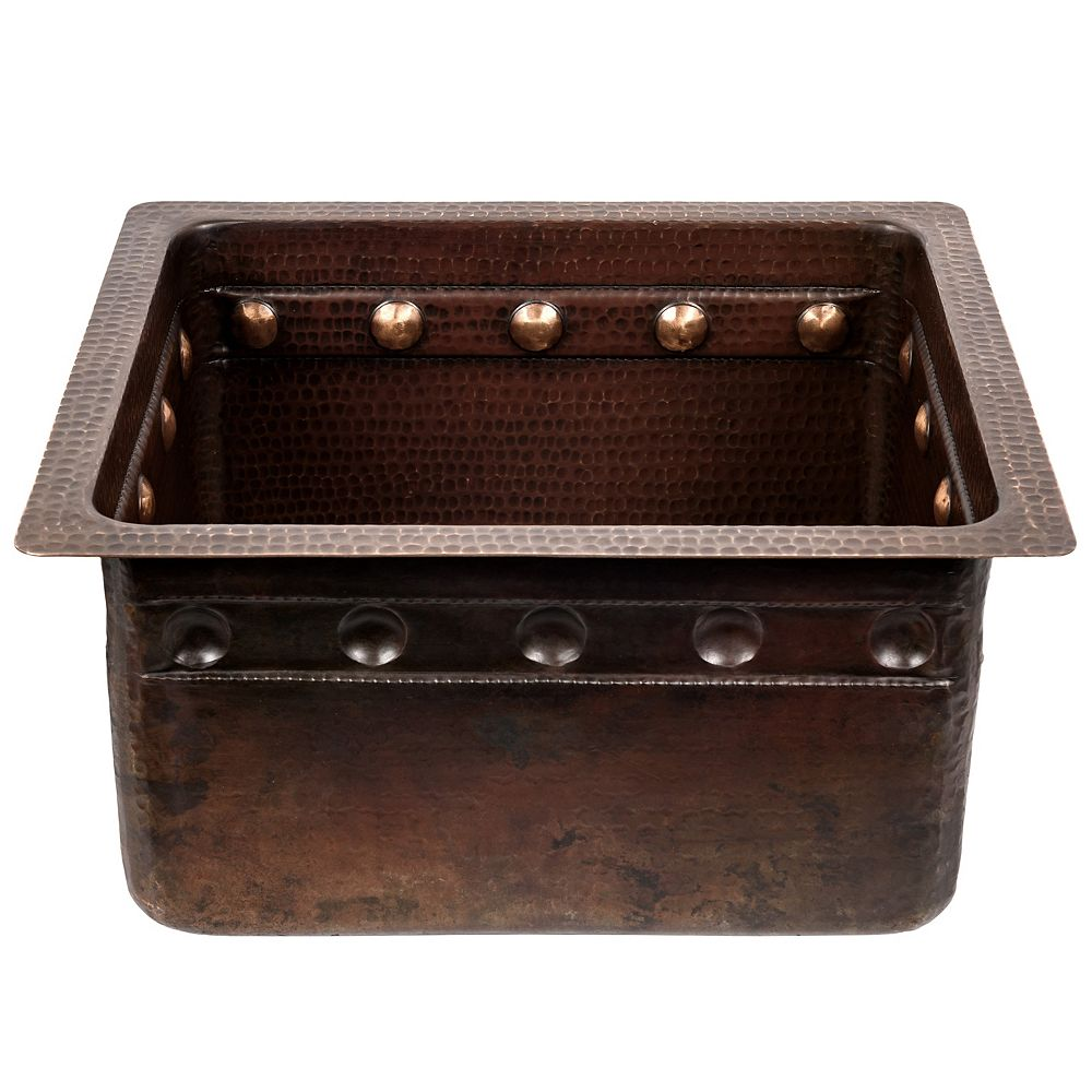 Premier Copper Products Dual Mount Rectangle Copper 16 inch 0-Hole Single Bowl Barrel Strap Bar Sink in Oil Rubbed Bronze