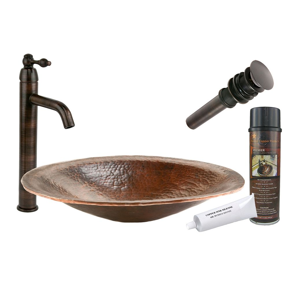 Premier Copper Products All-in-One Oval 20 inch Hand Forged Old World Copper Vessel Sink in Oil Rubbed Bronze