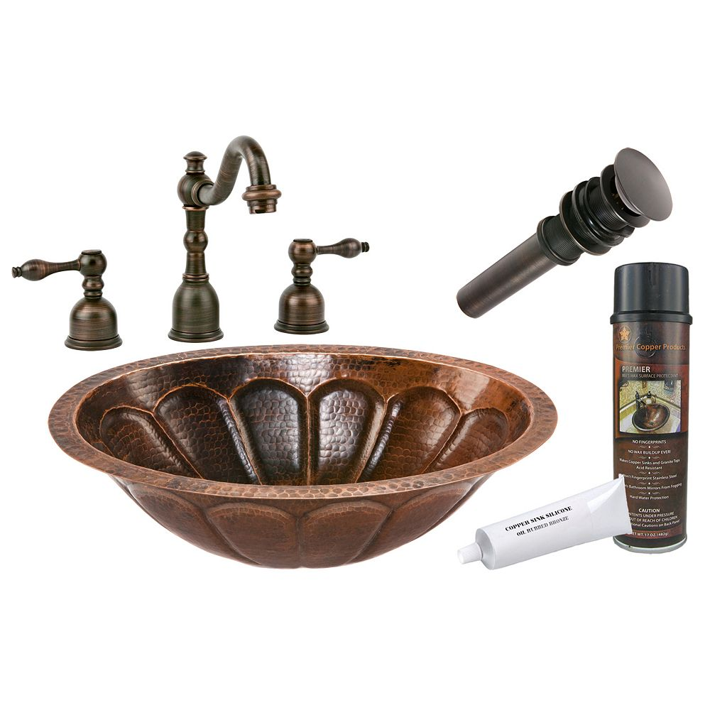 Premier Copper Products All-in-One Dual Mount Oval Sunburst Copper 19 inch 0-Hole Bathroom Sink in Oil Rubbed Bronze