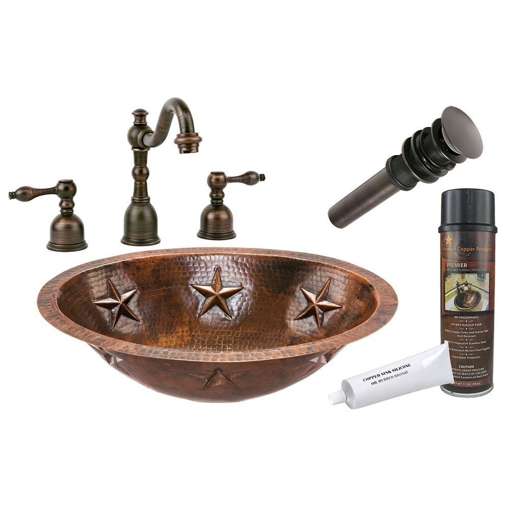 Premier Copper Products All-in-One Dual Mount Oval Star Copper 19 inch 0-Hole Bathroom Sink in Oil Rubbed Bronze