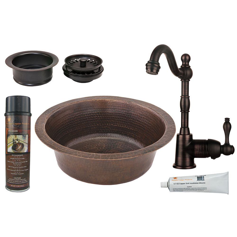 Premier Copper Products All-in-One 14 inch Round Copper Bar Sink in ORB with 3.5 inch Drain Opening and Garbage Disposal Drain