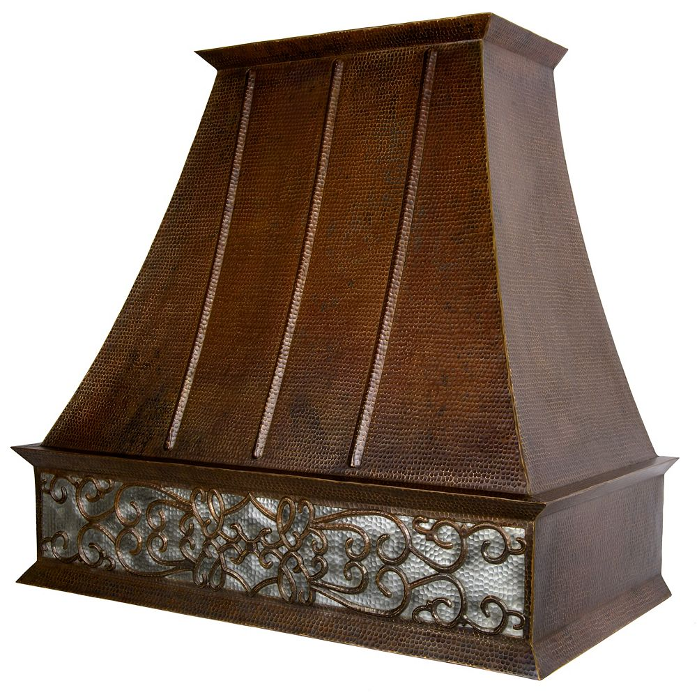 Premier Copper Products 38 inch 735 CFM Copper and Nickel Scroll Euro Wall Mount Range Hood with Screen Filters