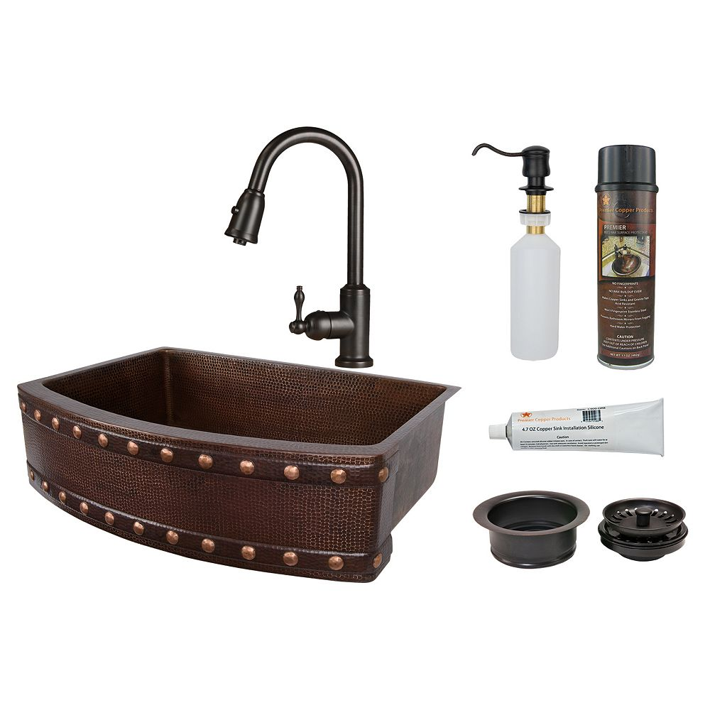 Premier Copper Products All-in-One Farmhouse/Apron-Front Copper 30 inch 0-Hole Kitchen Rounded Apron Barrel Strap Sink in ORB