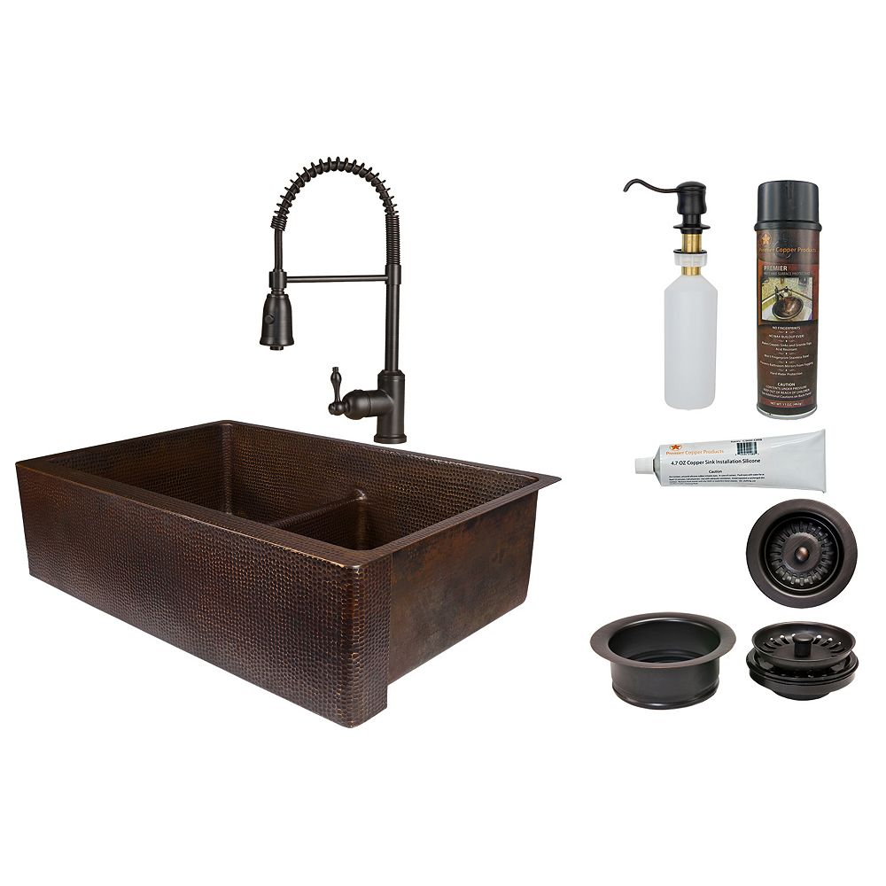 Premier Copper Products All-in-One Farmhouse/Apron-Front Copper 33 inch 50/50 Kitchen Apron Sink with Divider in ORB_K4