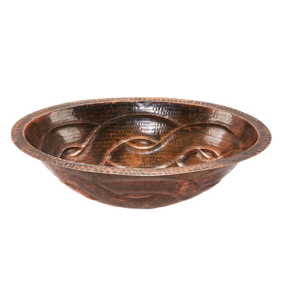 Premier Copper Products Lavabo hexagonal en cuivre martelé à motif tressé pour dessous de comptoir