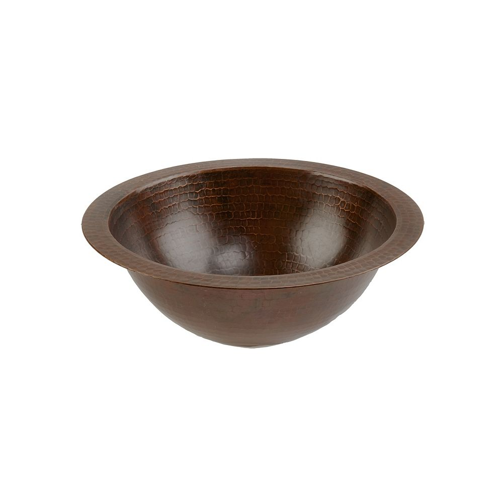 Premier Copper Products Dual Mount Small Round Copper 12 inch 0-Hole Bathroom Sink in Oil Rubbed Bronze
