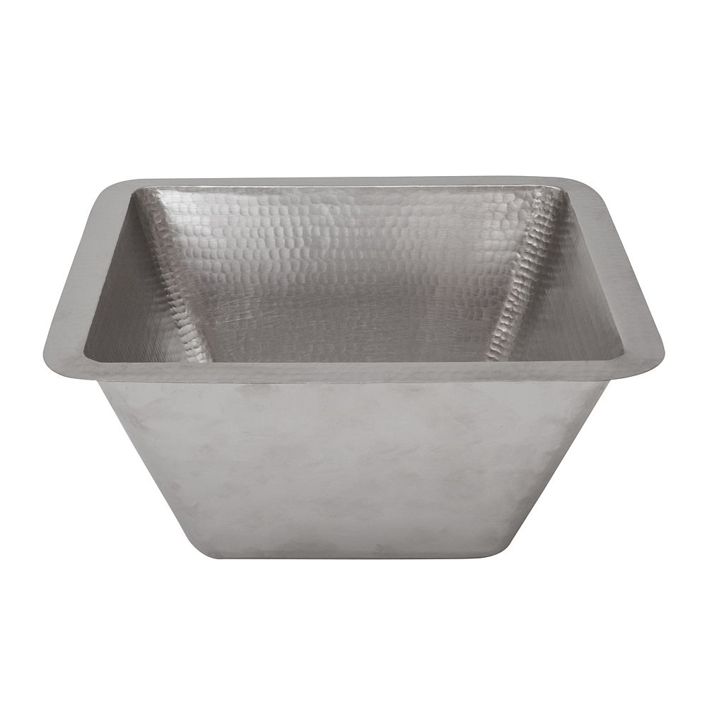 Premier Copper Products Dual Mount Square Copper 15 inch 0-Hole Bathroom Sink in Nickel