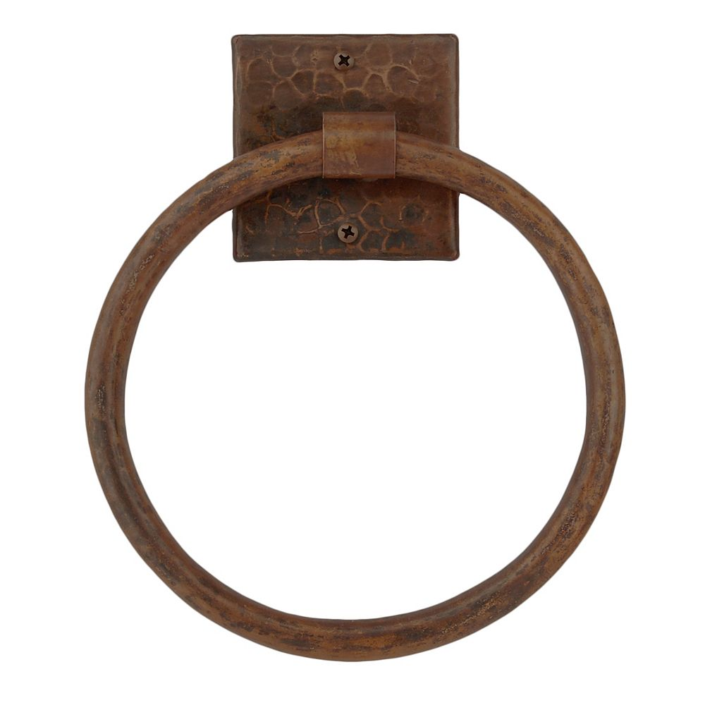 Premier Copper Products 10 inch Hand Hammered Copper Full Size Bath Towel Ring in Oil Rubbed Bronze