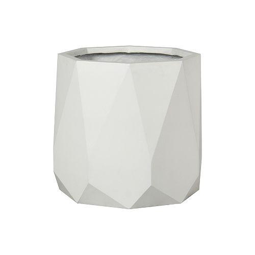 17-inch Round Diamond Planter in Matte White
