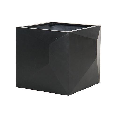 17-inch Square Diamond Planter in Matte Black