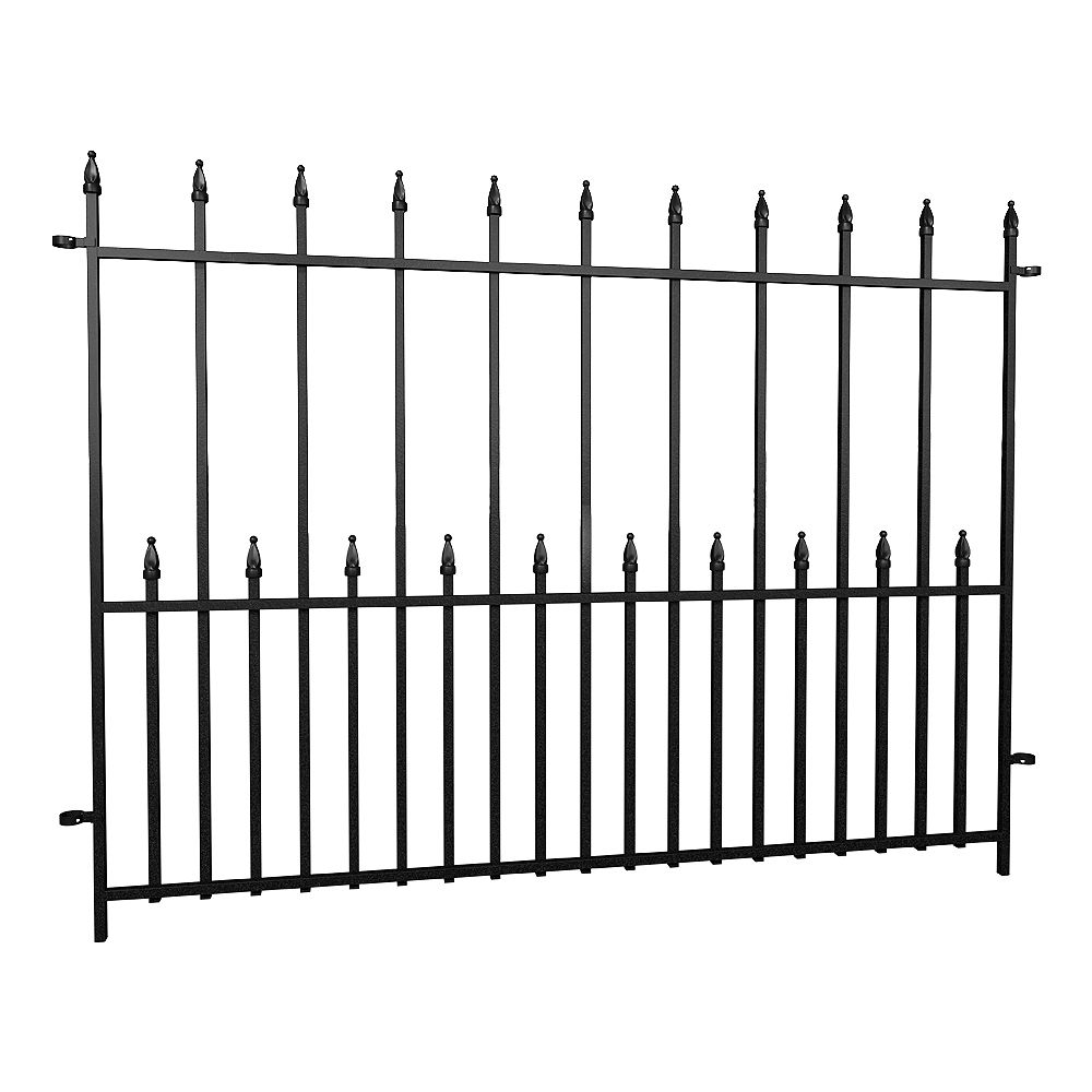 Peak Products Dig-Free Fencing 'Victoria' 4 ft. W x 3 ft. H Steel Fence Panel in Black
