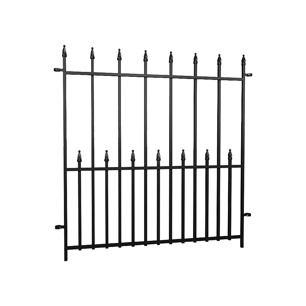 Peak Products Dig-Free Fencing 'Victoria' 34 1/4-inch W x 3 ft. H Steel Fence Panel in Black