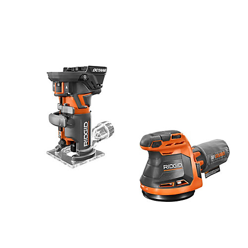 18V OCTANE Cordless Brushless Compact Fixed Base Router and Random Orbital Sander