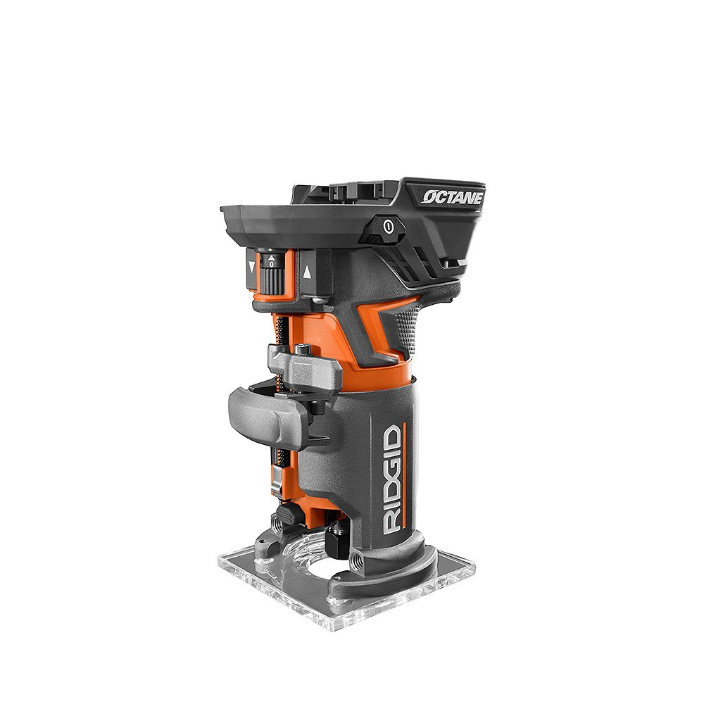 RIDGID 18V OCTANE Cordless Brushless Compact Fixed Base Router with 1/4-inch Bit, Round and Square Bases, and Collet Wrench
