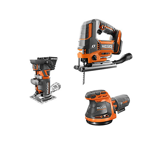18V Cordless 3-Tool Combo Kit with Compact Router, Jig Saw and Random Orbit Sander (Tools-Only)