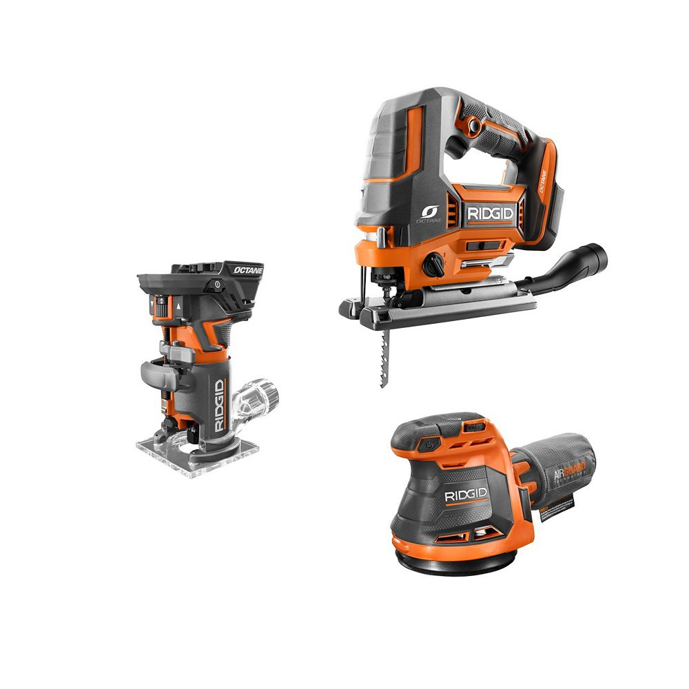 RIDGID 18V Cordless 3-Tool Combo Kit with Compact Router, Jig Saw and Random Orbit Sander (Tools-Only)
