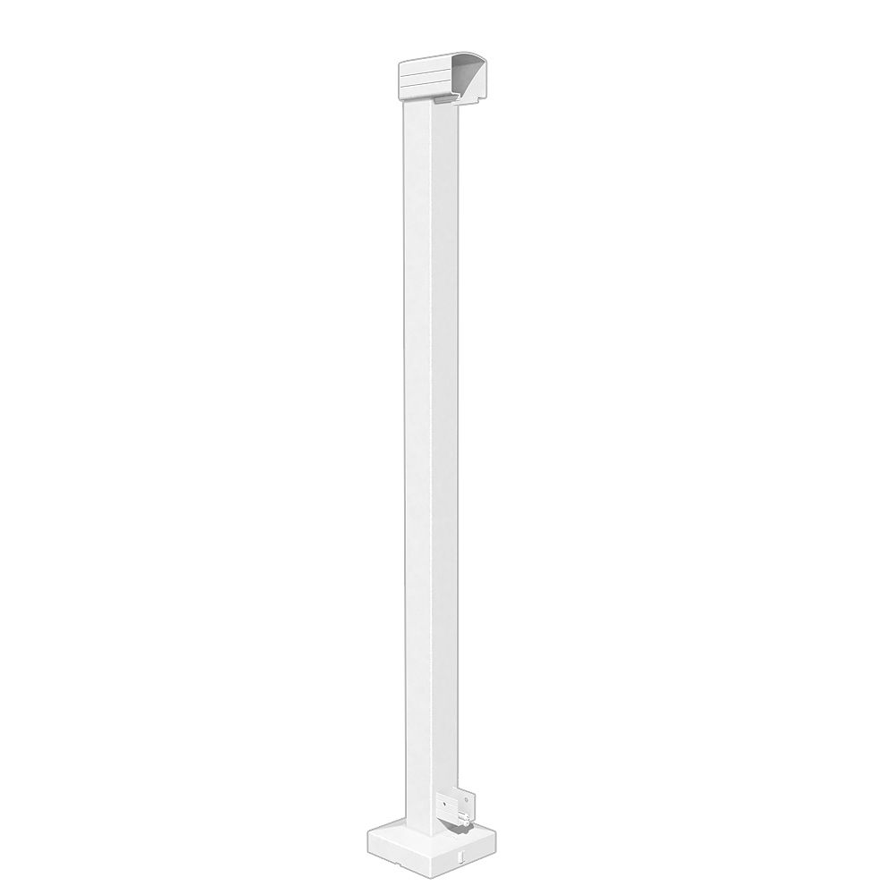 Peak RailBlazers 42-inch H Aluminum Deck Railing End Post in White